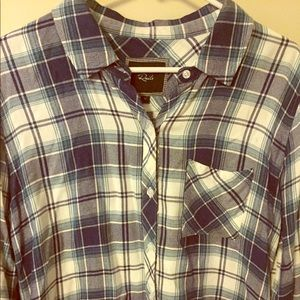 Rails long sleeve blue and white plaid shirt